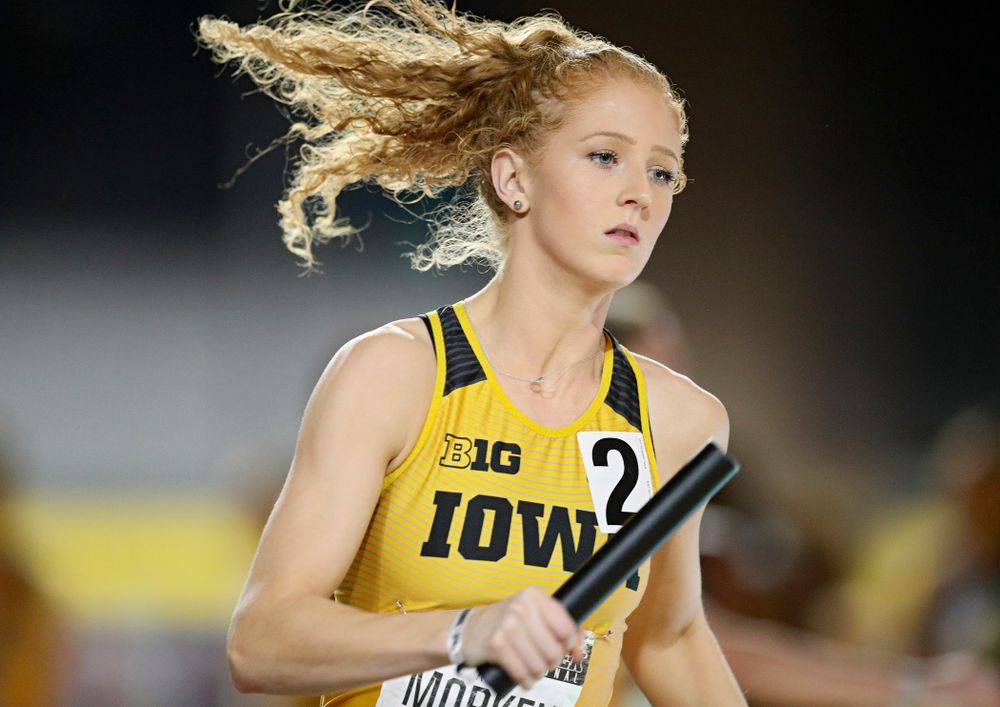 Iowa's Kylie Morken runs the women's 1600 meter relay event during the Larry Wieczorek Invitational at the Recreation Building in Iowa City on Saturday, January 18, 2020. (Stephen Mally/hawkeyesports.com)