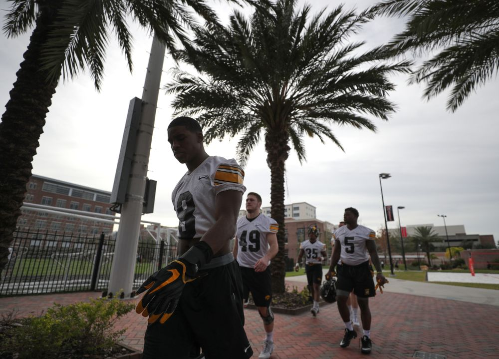 Iowa Hawkeyes defensive back Matt Hankins (8) during the team's first Outback Bowl Practice in Florida Thursday, December 27, 2018 at Tampa University. (Brian Ray/hawkeyesports.com)