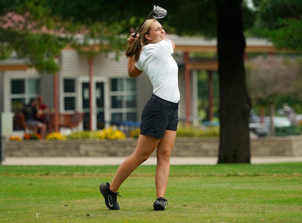 Iowa's Stephanie Herzog tees off during their dual against Northern Iowa at Pheasant Ridge Golf Course in Cedar Falls on Monday, Sep 2, 2019. (Stephen Mally/hawkeyesports.com)