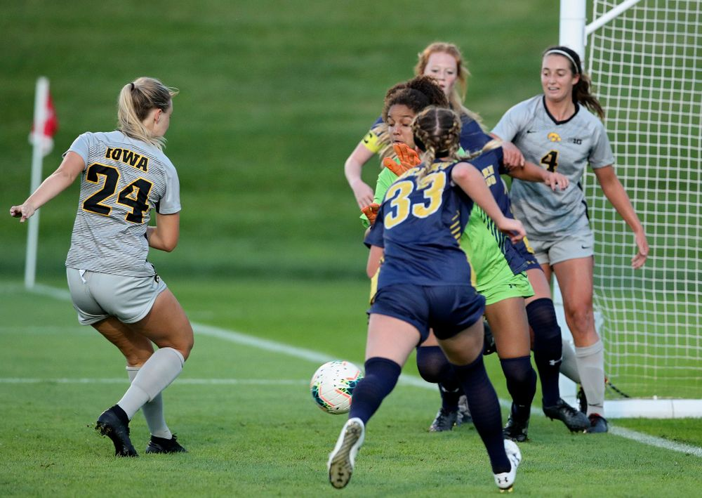 Iowa defender Sara Wheaton (24) scores a goal during the first half of their match at the Iowa Soccer Complex in Iowa City on Friday, Sep 13, 2019. (Stephen Mally/hawkeyesports.com)