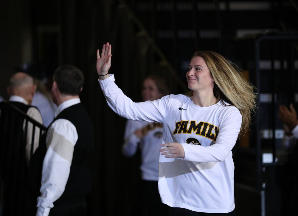 Iowa Hawkeyes guard Makenzie Meyer (3) during a celebration of their Big Ten Women's Basketball Tournament championship Monday, March 18, 2019 at Carver-Hawkeye Arena. (Brian Ray/hawkeyesports.com)