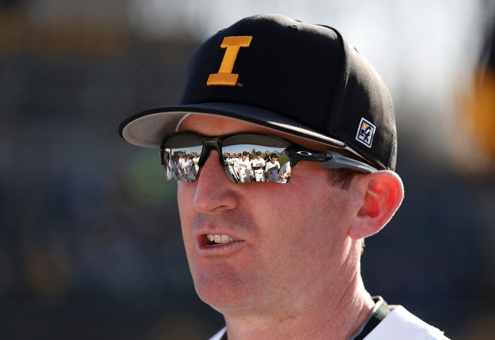 against the Iowa Hawkeyes associate head coach Marty Sutherland against the Michigan Wolverines Friday, April 27, 2018 at Duane Banks Field in Iowa City. (Brian Ray/hawkeyesports.com)