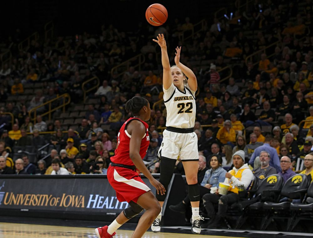 Iowa Hawkeyes guard Kathleen Doyle (22) makes a 3-pointer during the second quarter of the game at Carver-Hawkeye Arena in Iowa City on Thursday, February 6, 2020. (Stephen Mally/hawkeyesports.com)