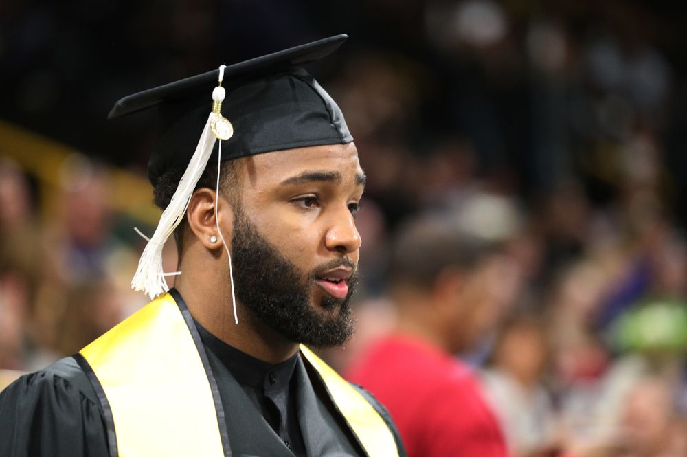 Hawkeye FootballÕs Dominique Dafney during the College of Liberal Arts and Sciences spring commencement Saturday, May 11, 2019 at Carver-Hawkeye Arena. (Brian Ray/hawkeyesports.com)