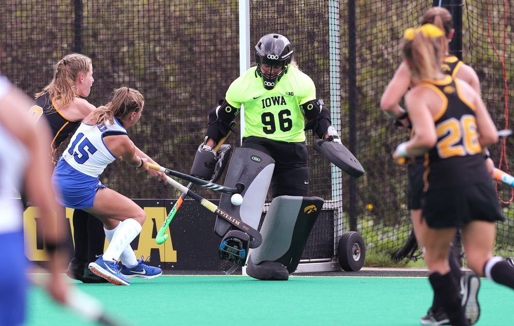 Iowa Hawkeyes goaltender Leslie Speight (96) makes a save against the Duke Blue Devils Sunday, September 15, 2019 at Grant Field.  (Brian Ray/hawkeyesports.com)