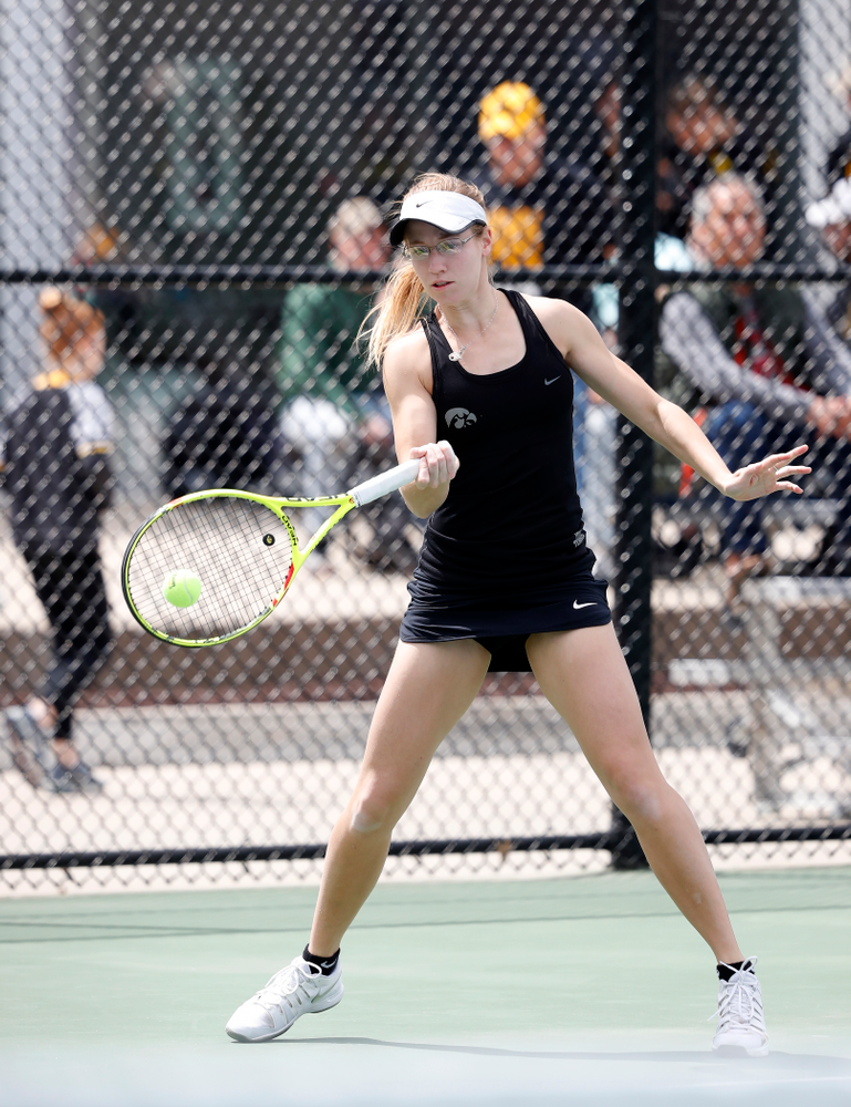 Montana Crawford and Danielle Burich play a doubles match against the Wisconsin Badgers Sunday, April 22, 2018 at the Hawkeye Tennis and Recreation Center. (Brian Ray/hawkeyesports.com)