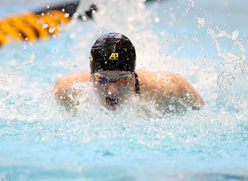 Iowa's Christina Kaufman swims the women's 100 yard butterfly preliminary event during the 2020 Women's Big Ten Swimming and Diving Championships at the Campus Recreation and Wellness Center in Iowa City on Friday, February 21, 2020. (Stephen Mally/hawkeyesports.com)