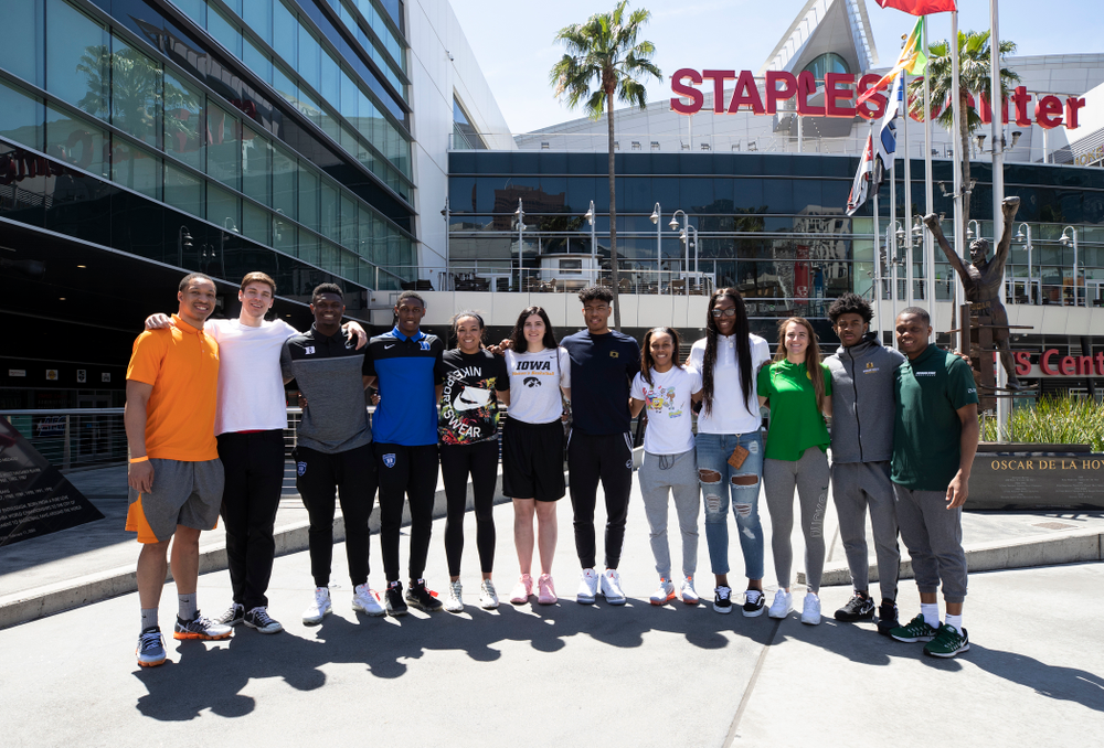 The ESPN College Basketball honorees and Wooden Award finalists take a photo outside of the Staples Center  Friday, April 12, 2019 in downtown LA. (Brian Ray/hawkeyesports.com)