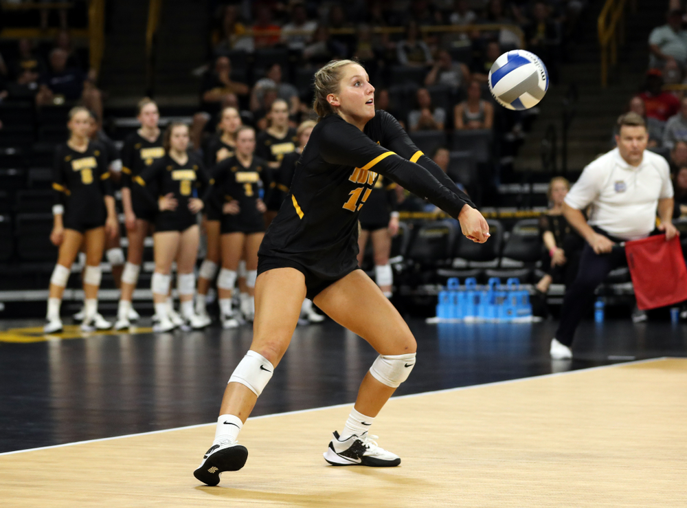 Iowa Hawkeyes defensive specialist Maddie Slagle (15) against the Iowa State Cyclones Saturday, September 21, 2019 at Carver-Hawkeye Arena. (Brian Ray/hawkeyesports.com)
