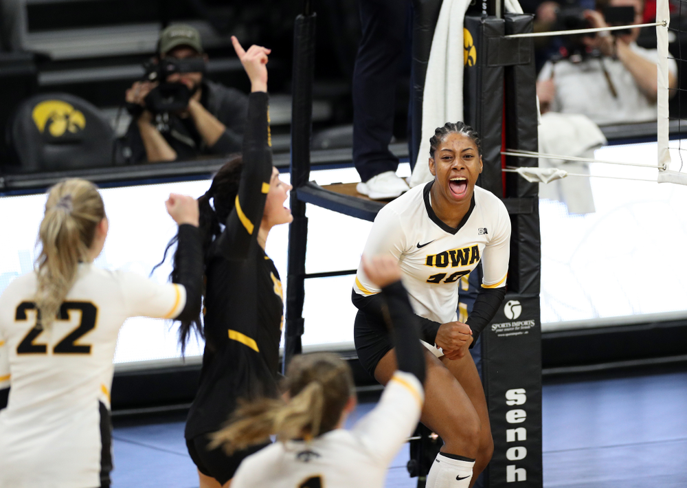 Iowa Hawkeyes outside hitter Griere Hughes (10) against Penn State Friday, November 1, 2019 at Carver Hawkeye Arena. (Brian Ray/hawkeyesports.com)