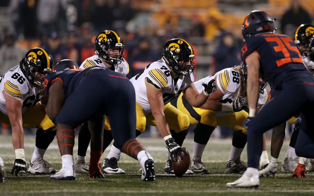 Iowa Hawkeyes offensive lineman Dalton Ferguson (76) against the Illinois Fighting Illini Saturday, November 17, 2018 at Memorial Stadium in Champaign, Ill. (Brian Ray/hawkeyesports.com)