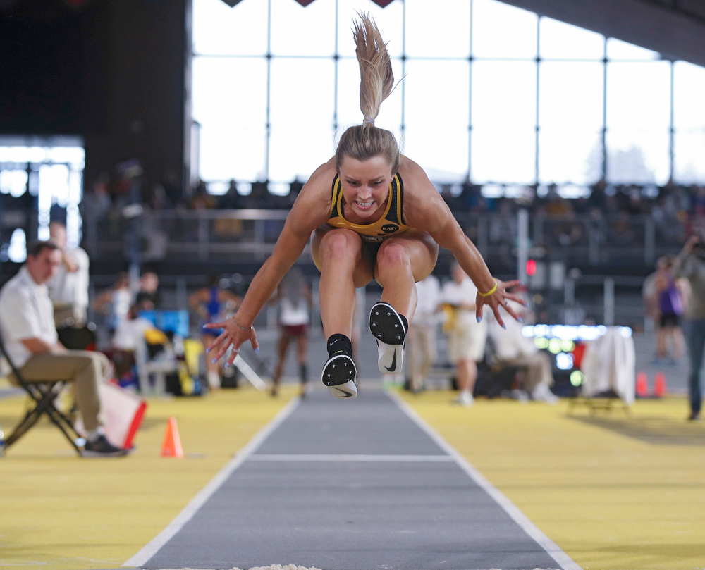 Iowa's Hannah Schilb competes in the women's triple jump event at the Black and Gold Invite at the Recreation Building in Iowa City on Saturday, February 1, 2020. (Stephen Mally/hawkeyesports.com)