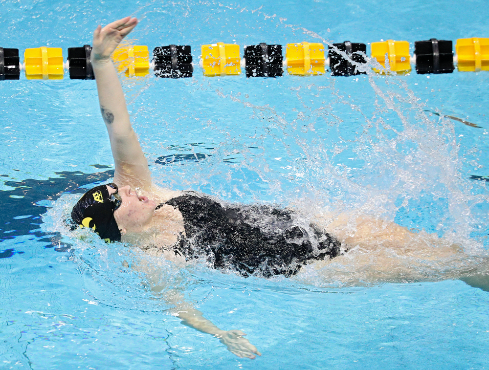 Iowa's Erin Lang swims the women's 200-yard backstroke event during their meet against Michigan State and Northern Iowa at the Campus Recreation and Wellness Center in Iowa City on Friday, Oct 4, 2019. (Stephen Mally/hawkeyesports.com)