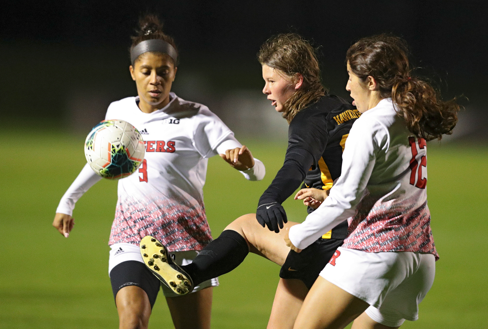 Iowa forward Samantha Tawharu (27) passes the ball during the first half of their match at the Iowa Soccer Complex in Iowa City on Friday, Oct 11, 2019. (Stephen Mally/hawkeyesports.com)