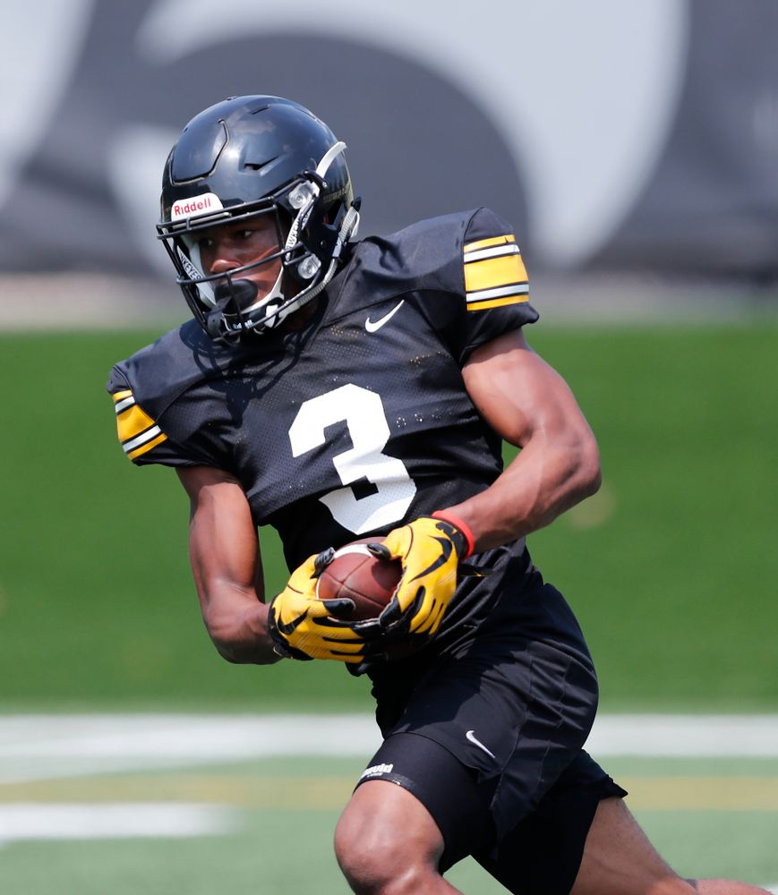 Iowa Hawkeyes wide receiver Tyrone Tracy Jr. (3) during fall camp practice No. 9 Friday, August 10, 2018 at the Kenyon Practice Facility. (Brian Ray/hawkeyesports.com)