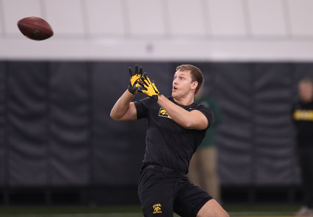 Iowa Hawkeyes tight end T.J. Hockenson (38) during the teamÕs annual Pro Day Monday, March 25, 2019 at the Hansen Football Performance Center. (Brian Ray/hawkeyesports.com)