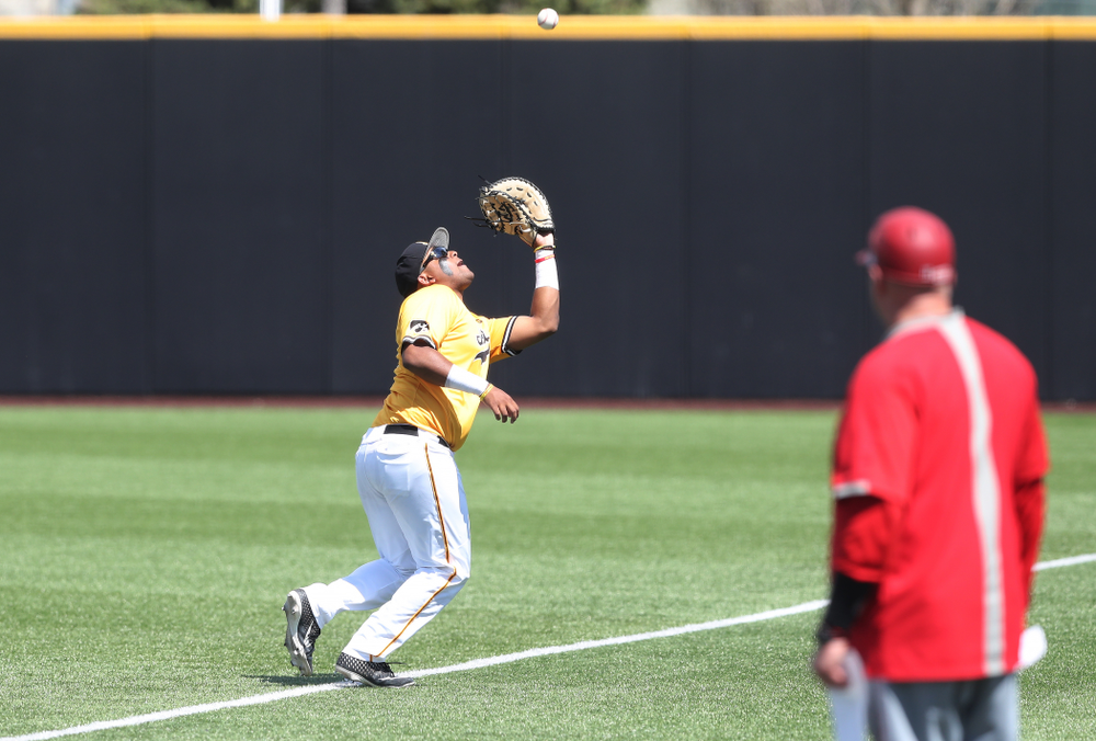 Iowa Hawkeyes Izaya Fullard (20) against the Nebraska Cornhuskers Sunday, April 21, 2019 at Duane Banks Field. (Brian Ray/hawkeyesports.com)