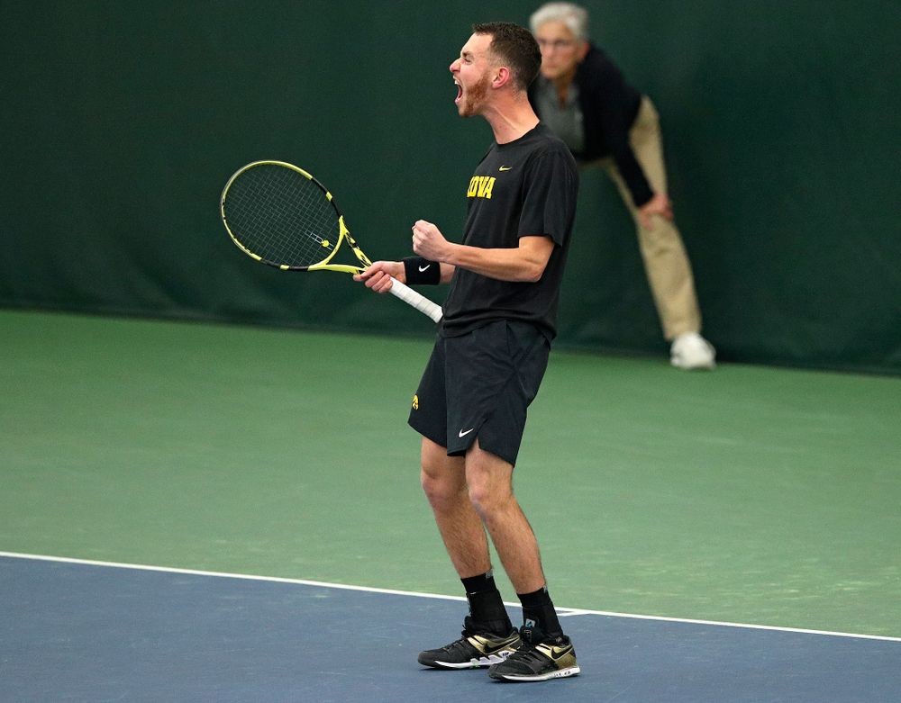 Iowa's Kareem Allaf celebrates a point during his doubles match at the Hawkeye Tennis and Recreation Complex in Iowa City on Friday, March 6, 2020. (Stephen Mally/hawkeyesports.com)