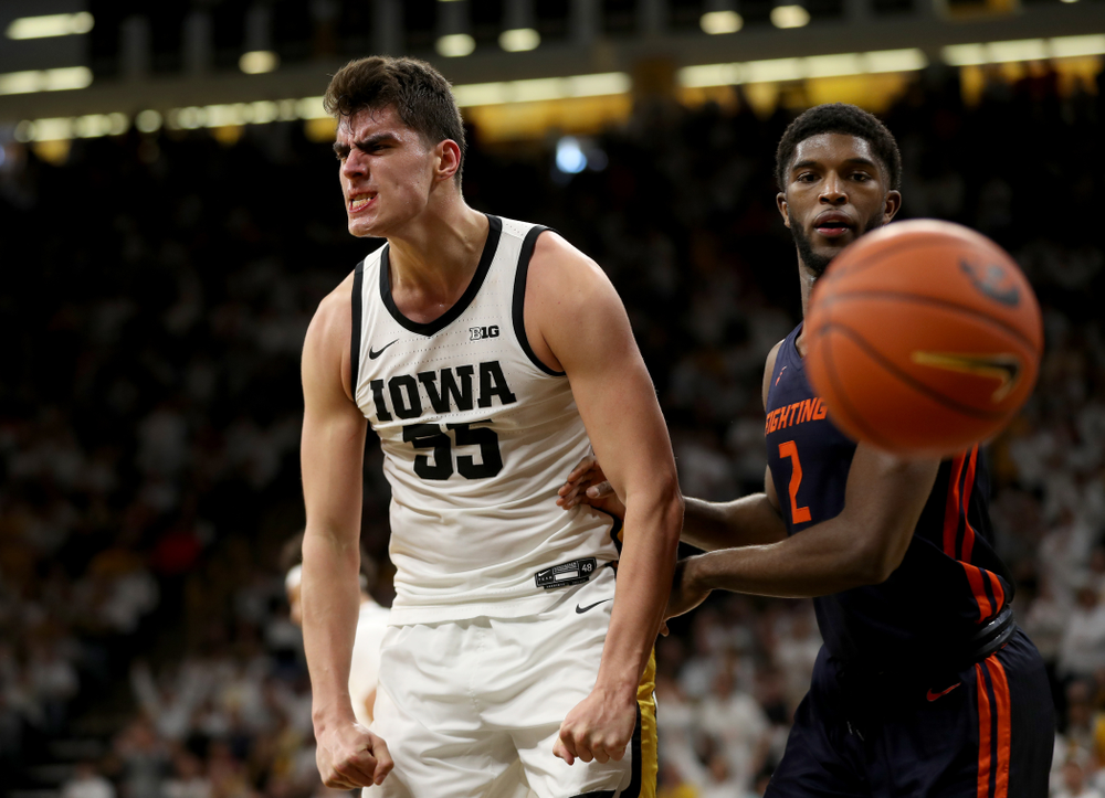Iowa Hawkeyes forward Luka Garza (55) celebrates after making a basket against the Illinois Fighting Illini Sunday, February 2, 2020 at Carver-Hawkeye Arena. (Brian Ray/hawkeyesports.com)