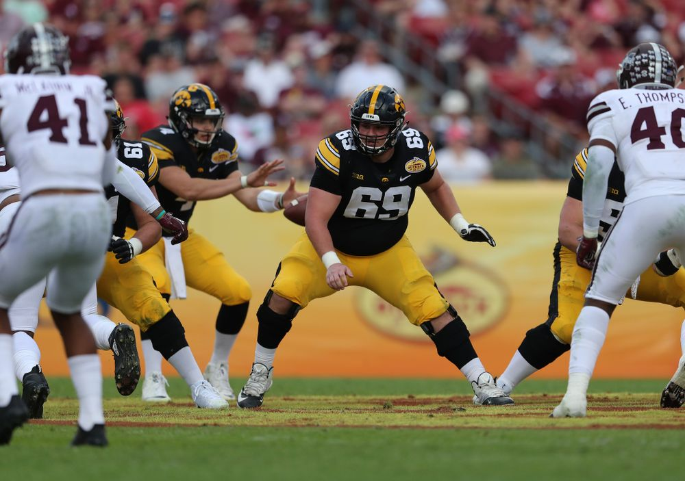 Iowa Hawkeyes offensive lineman Keegan Render (69) during the Outback Bowl Tuesday, January 1, 2019 at Raymond James Stadium in Tampa, FL. (Brian Ray/hawkeyesports.com)