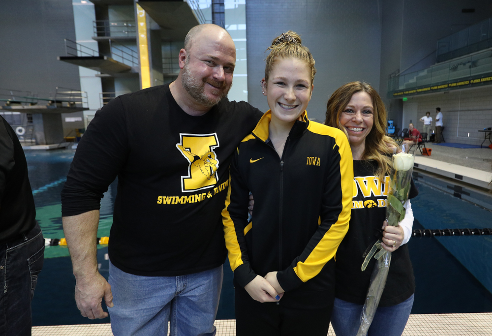 Abbey Schneider is introduced during senior day before a double dual against Wisconsin and Northwestern Saturday, January 19, 2019 at the Campus Recreation and Wellness Center. (Brian Ray/hawkeyesports.com)