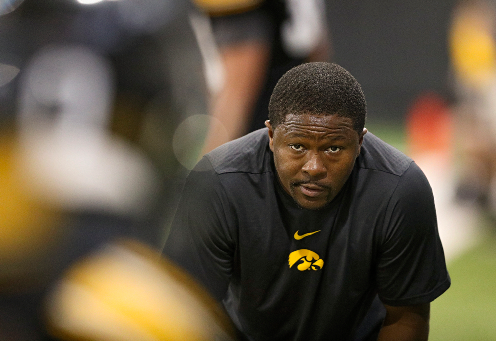 Iowa Hawkeyes running backs coach Derrick Foster looks on during Fall Camp Practice No. 9 at the Hansen Football Performance Center in Iowa City on Monday, Aug 12, 2019. (Stephen Mally/hawkeyesports.com)