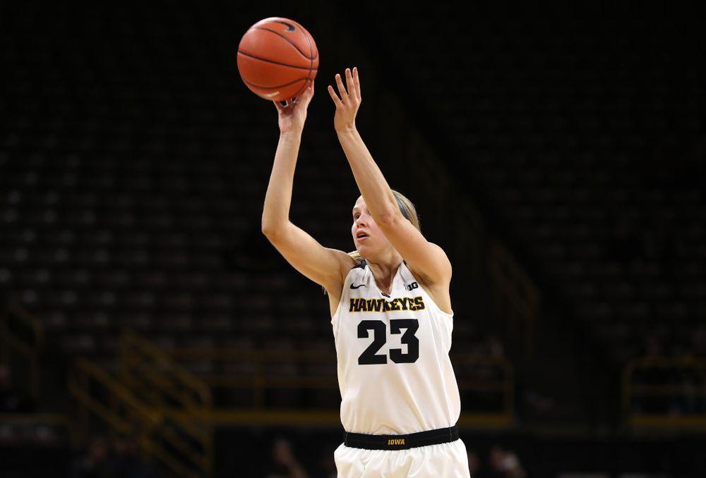 Iowa Hawkeyes forward Logan Cook (23) against Dakota Wesleyan University Tuesday, November 6, 2018 at Carver-Hawkeye Arena. (Brian Ray/hawkeyesports.com)