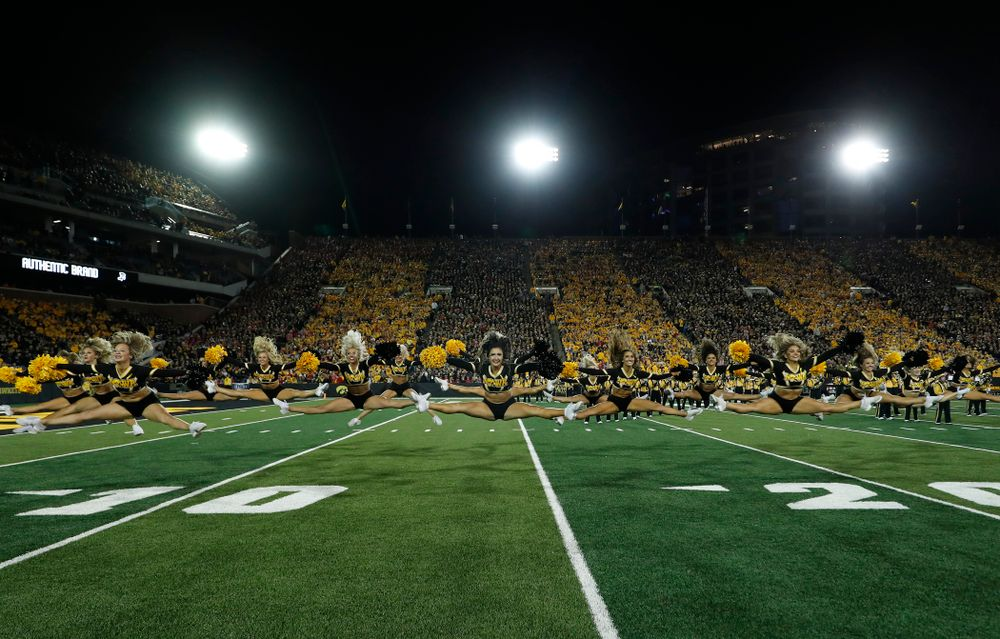 The Iowa Dance Team performs during the Iowa Hawkeyes game against the Wisconsin Badgers Saturday, September 22, 2018 at Kinnick Stadium. (Brian Ray/hawkeyesports.com)