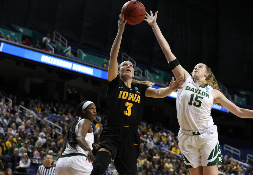 Iowa Hawkeyes guard Makenzie Meyer (3) against the Baylor Lady Bears in the regional final of the 2019 NCAA Women's College Basketball Tournament Monday, April 1, 2019 at Greensboro Coliseum in Greensboro, NC.(Brian Ray/hawkeyesports.com)