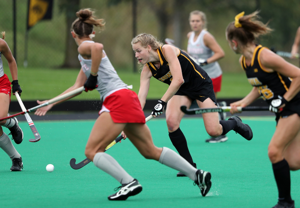 Iowa Hawkeyes Sofie Stribos (9) during a 2-1 victory against the Ohio State Buckeyes Friday, September 27, 2019 at Grant Field. (Brian Ray/hawkeyesports.com)