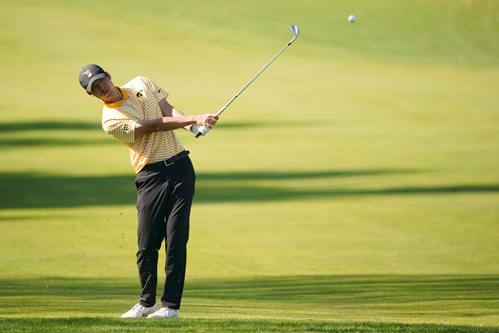 Iowa's Joe Kim hits from the fairway during the third round of the Hawkeye Invitational at Finkbine Golf Course in Iowa City on Sunday, Apr. 21, 2019. (Stephen Mally/hawkeyesports.com)