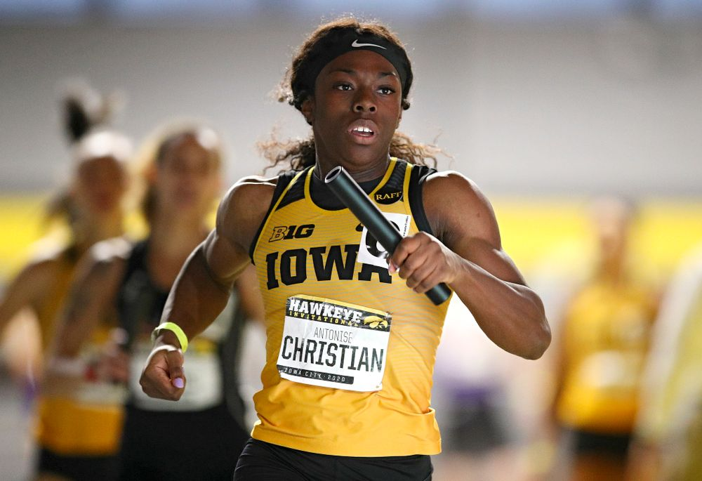 Iowa's Antonise Christian runs the women's 1600 meter relay event during the Hawkeye Invitational at the Recreation Building in Iowa City on Saturday, January 11, 2020. (Stephen Mally/hawkeyesports.com)