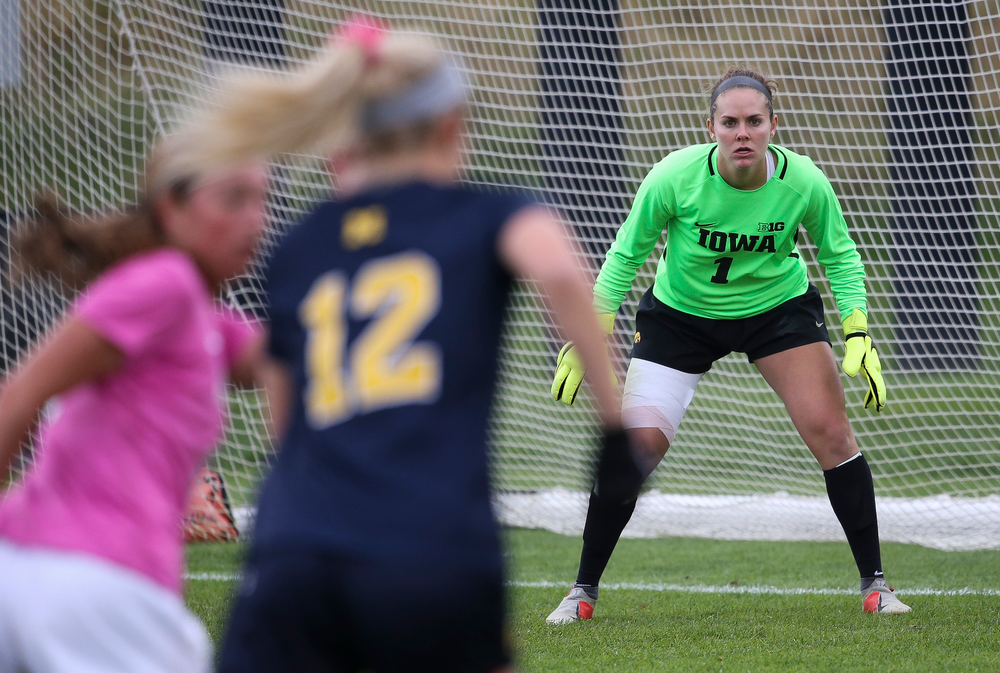 Iowa Hawkeyes goalkeeper Claire Graves (1) defends the goal during a game against Michigan at the Iowa Soccer Complex on October 14, 2018. (Tork Mason/hawkeyesports.com)