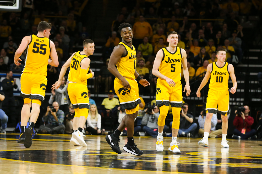 Iowa Hawkeyes guard Joe Toussaint (1) reacts after scoring during the Iowa men's basketball game vs Rutgers on Wednesday, January 22, 2020 at Carver-Hawkeye Arena. (Lily Smith/hawkeyesports.com)