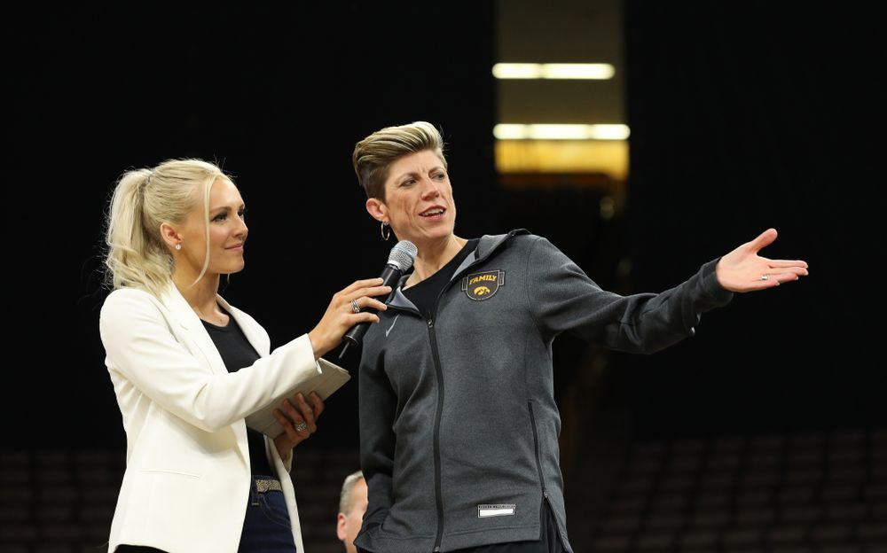 Laura Vandenberg interviews associate head coach Jan Jensen during the teamÕs Celebr-Eight event Wednesday, April 24, 2019 at Carver-Hawkeye Arena. (Brian Ray/hawkeyesports.com)