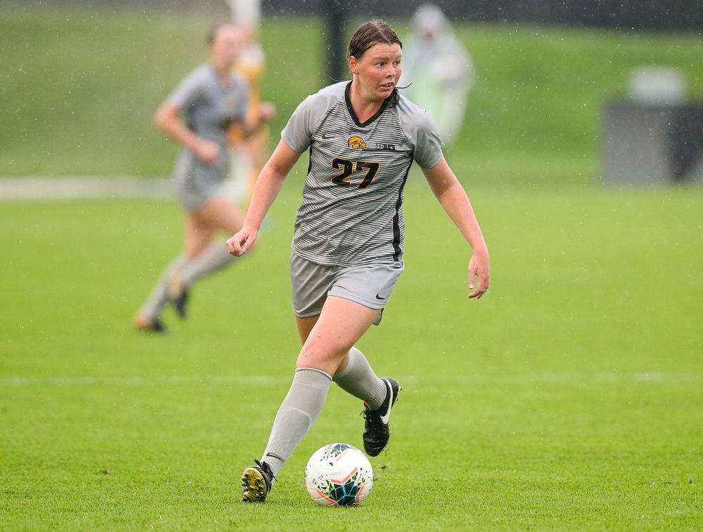 Iowa forward Samantha Tawharu (27) looks to pass during overtime of their match at the Iowa Soccer Complex in Iowa City on Sunday, Sep 29, 2019. (Stephen Mally/hawkeyesports.com)