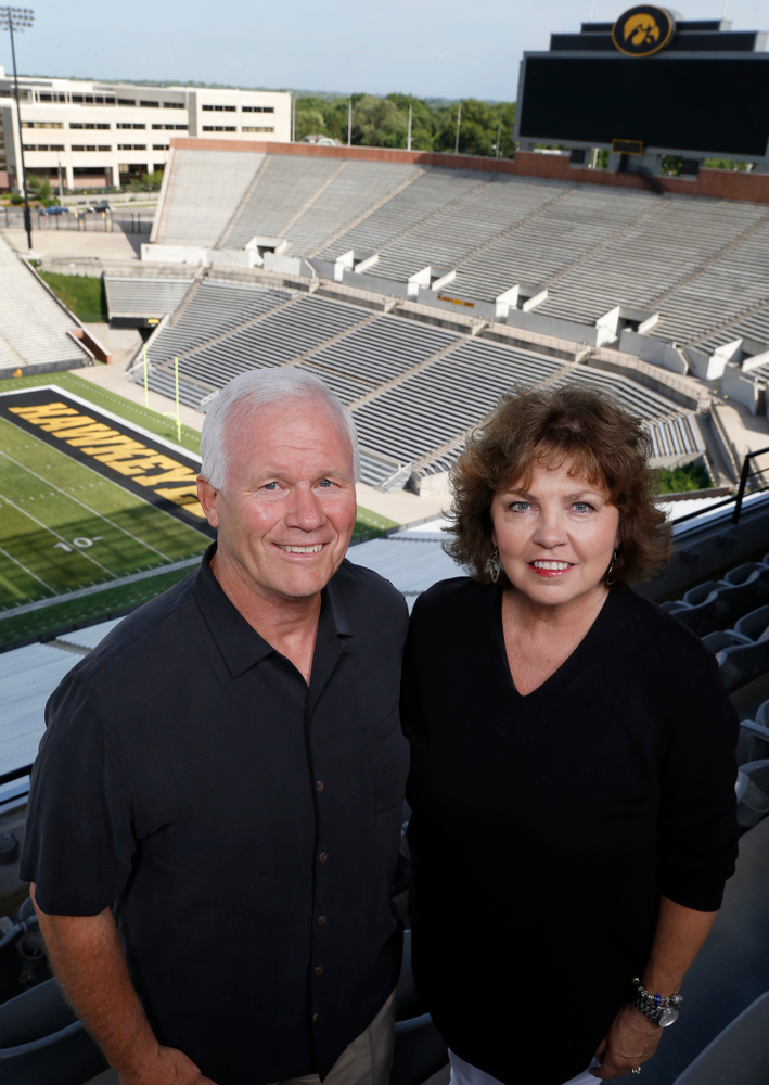 Iowa Football Defensive Line coach Reese Morgan and his wife Joanna Monday, June 20, 2016 at Kinnick Stadium. (Brian Ray/hawkeyesports.com)