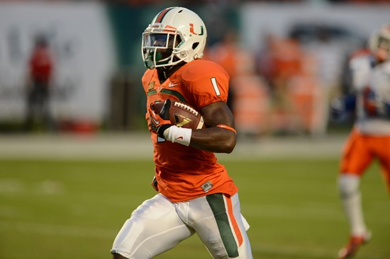 Allen Hurns #1 and the 14th ranked University of Miami Hurricanes will play the Georgia Tech Yellow Jackets at Sun Life Stadium on October 5, 2013. ...