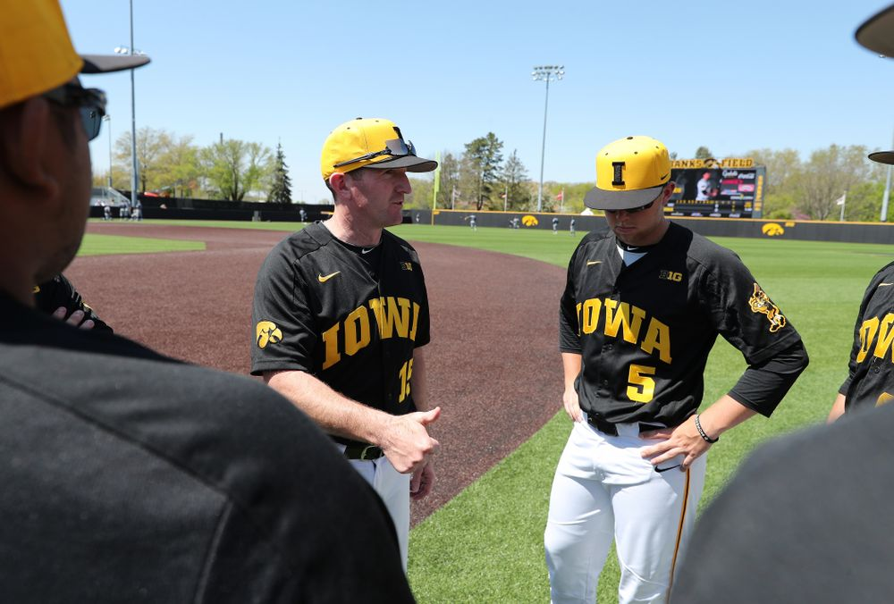 Iowa Hawkeyes associate head coach Marty Sutherland before game two against UC Irvine Saturday, May 4, 2019 at Duane Banks Field. (Brian Ray/hawkeyesports.com)