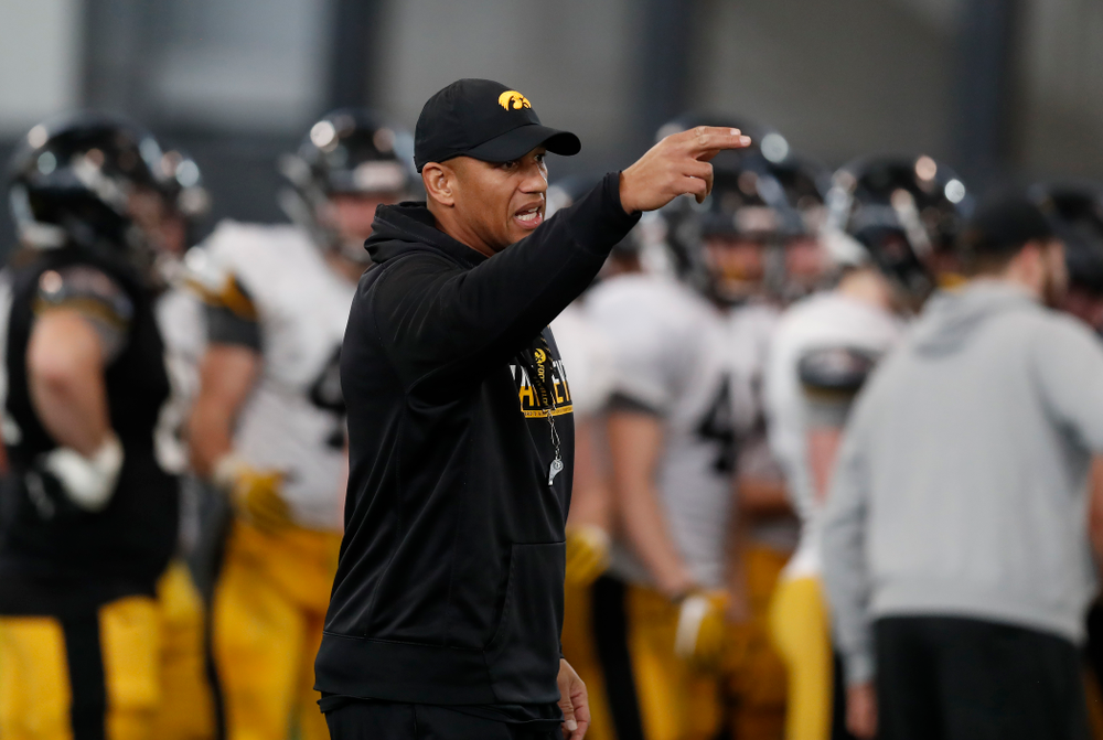Iowa Hawkeyes special teams coach Levar Woods during spring practice Wednesday, March 28, 2018 at the Hansen Football Performance Center.  (Brian Ray/hawkeyesports.com)
