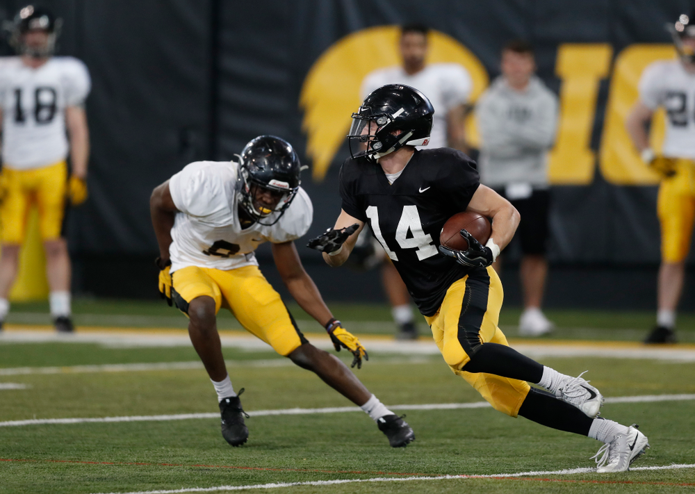 Iowa Hawkeyes wide receiver Kyle Groeneweg (14) during spring practice  Thursday, March 29, 2018 at the Hansen Football Performance Center. (Brian Ray/hawkeyesports.com)