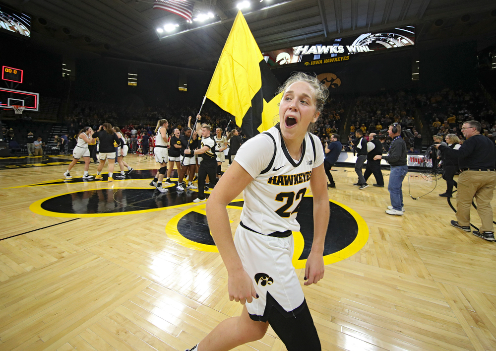 Iowa Hawkeyes guard Kathleen Doyle (22) celebrates after winning their game in double overtime at Carver-Hawkeye Arena in Iowa City on Sunday, January 12, 2020. (Stephen Mally/hawkeyesports.com)