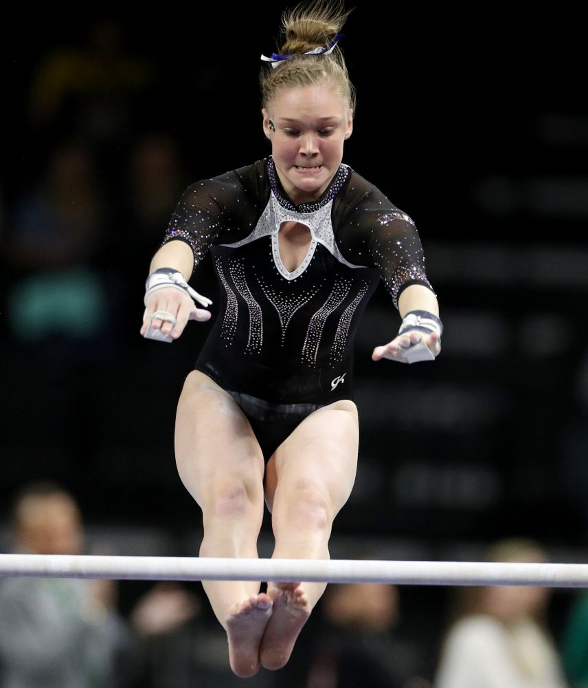 Iowa's Allyson Steffensmeier competes on the bars against Michigan State Saturday, February 1, 2020 at Carver-Hawkeye Arena. (Brian Ray/hawkeyesports.com)