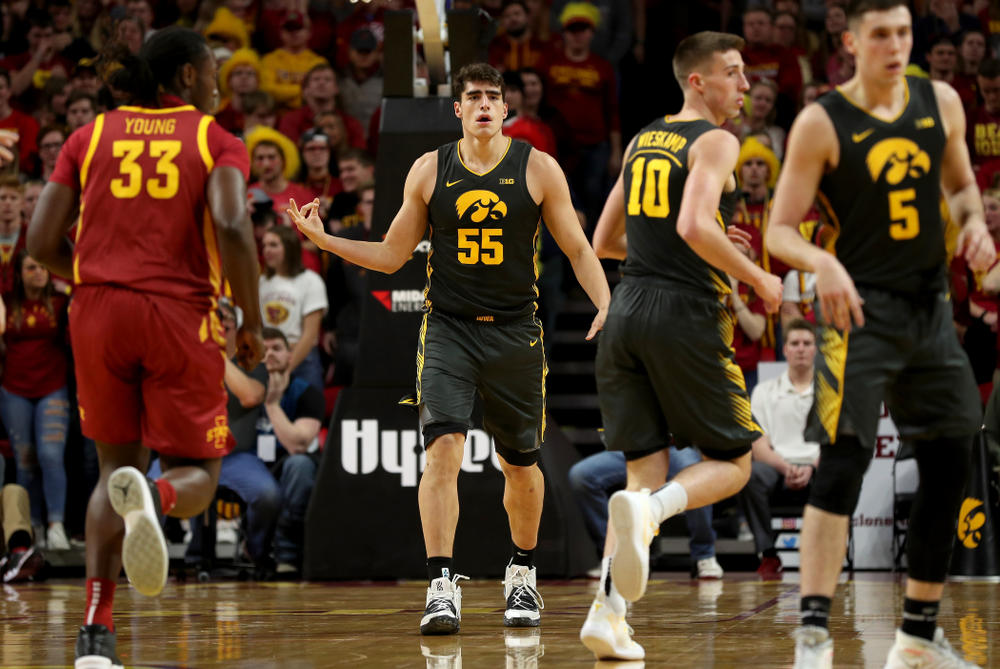 Iowa Hawkeyes forward Luka Garza (55) knocks down a three point basket against the Iowa State Cyclones Thursday, December 12, 2019 at Hilton Coliseum in Ames, Iowa(Brian Ray/hawkeyesports.com)