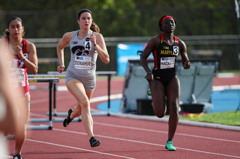 Iowa's Carly Donahue runs during the women's 400-meter hurdles at the Big Ten Outdoor Track and Field Championships at Francis X. Cretzmeyer Track on Friday, May 10, 2019. (Lily Smith/hawkeyesports.com)