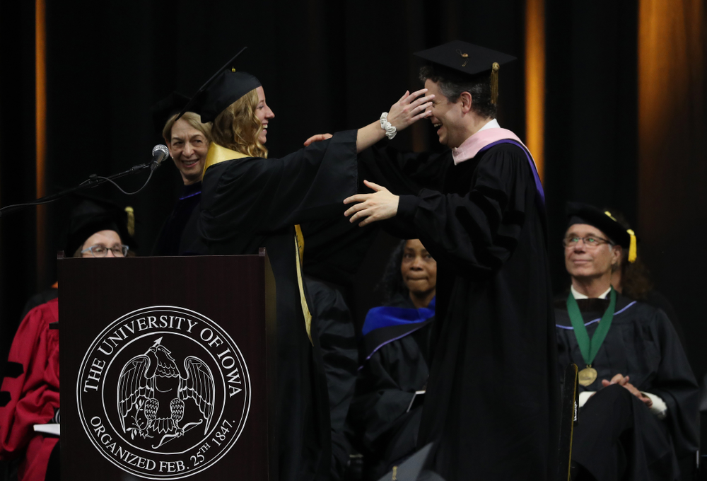 Iowa WomenÕs Tennis player Montana Crawford during the College of Liberal Arts and Sciences spring commencement Saturday, May 11, 2019 at Carver-Hawkeye Arena. (Brian Ray/hawkeyesports.com)
