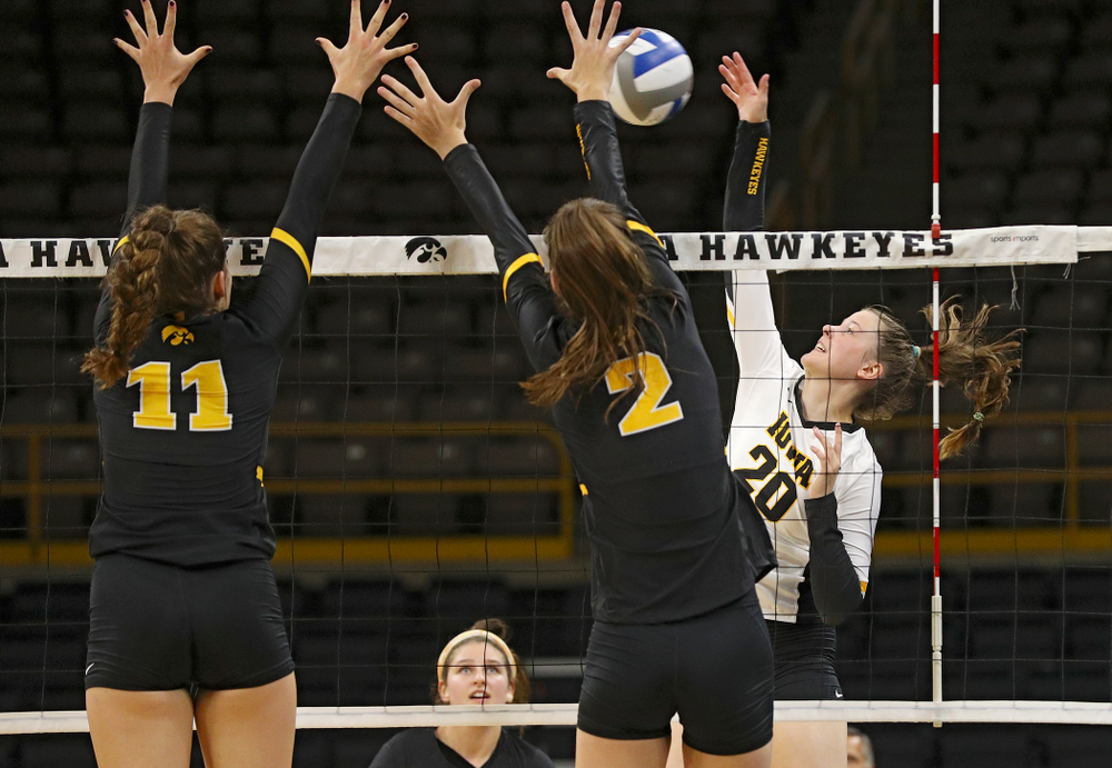 Iowa's Edina Schmidt (20) during the first set of the Black and Gold scrimmage at Carver-Hawkeye Arena in Iowa City on Saturday, Aug 24, 2019. (Stephen Mally/hawkeyesports.com)