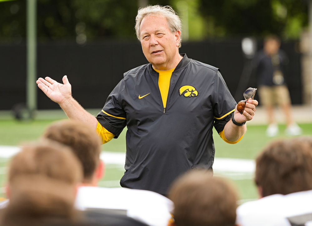 University of Iowa President Bruce Harreld talks to the team during Fall Camp Practice No. 10 at the Hansen Football Performance Center in Iowa City on Tuesday, Aug 13, 2019. (Stephen Mally/hawkeyesports.com)