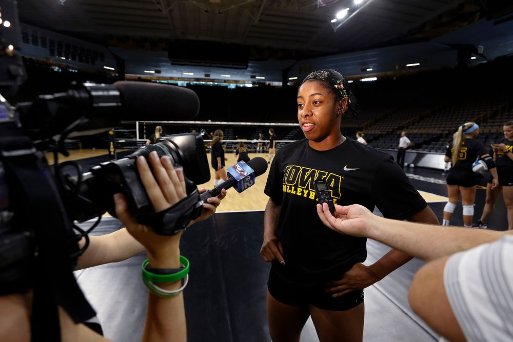 Iowa Hawkeyes outside hitter Griere Hughes (10) during the team's annual media day Friday, August 17, 2018 at Carver-Hawkye Arena. (Brian Ray/hawkeyesports.com)