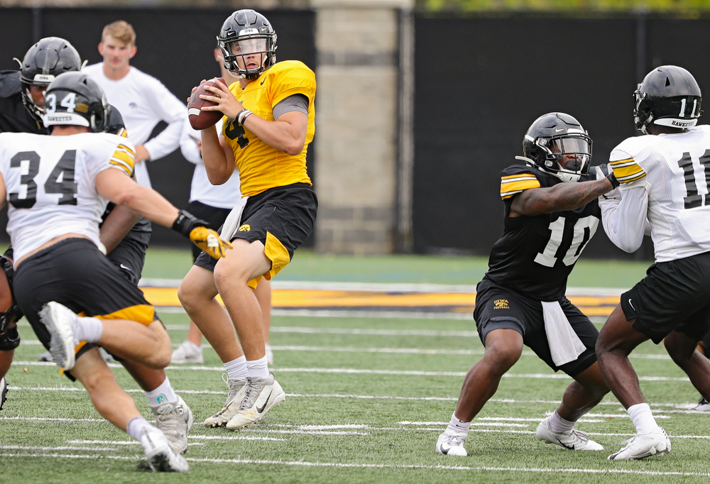 Iowa Hawkeyes quarterback Nate Stanley (4) looks to throw during Fall Camp Practice No. 15 at the Hansen Football Performance Center in Iowa City on Monday, Aug 19, 2019. (Stephen Mally/hawkeyesports.com)